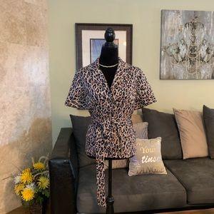 NWOT | Leopard Print Button Down Tie Waist Top 16